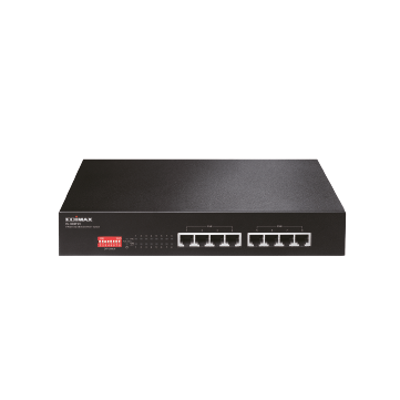Edimax SMB ES-1008P V2 8-Port Fast Etherent PoE+ Switch with Long Range Extend, VLAN, QoS DIP Switch (Total PoE Power Budget 130W)