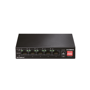 Edimax SMB ES-5104PH V2 5-Port Fast Etherent Switch with 4 PoE+ Ports, Long Range Extend, VLAN, QoS DIP Switch (Total PoE Power Budget 60W)