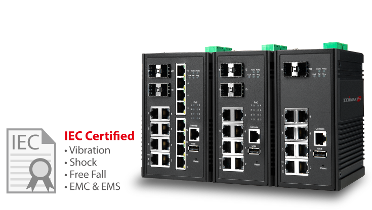Edimax Pro Industrial Switch, durable, rugged, robust, Gigabit, PoE, SFP, IGS-5416P, IGS-5408P, IGS-5208, IIoT, Smart City, Smart Factory, Automation