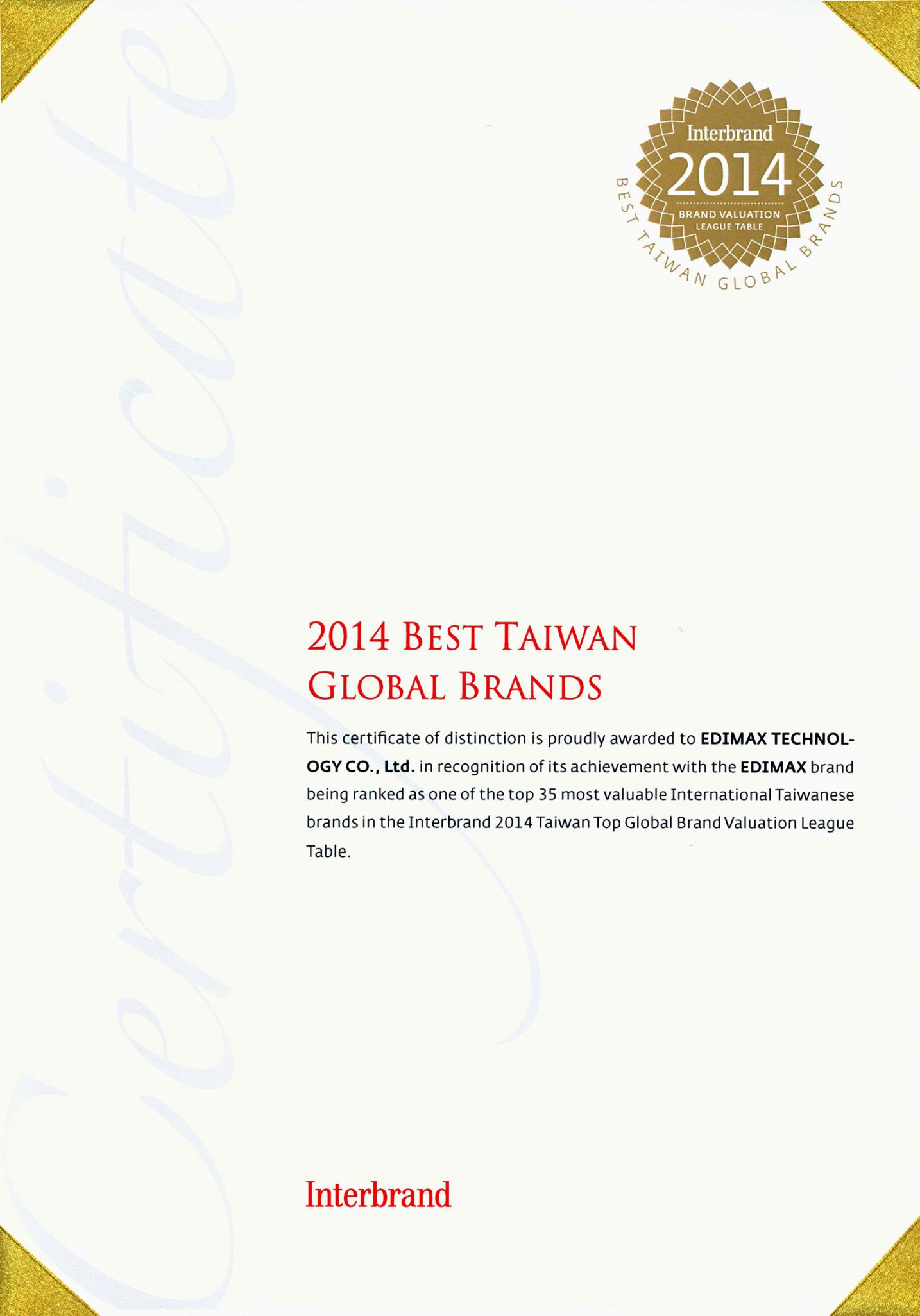 EDIMAX - Press Releases - Edimax Ranked by Interbrand as Top 35 Most