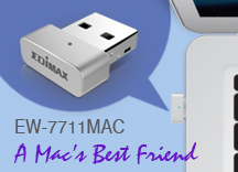 Edimax EW-7711MAC AC450 Wi-Fi USB Adapter-11ac Upgrade for MacBook