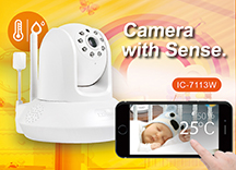 Edimax IC-7113W Smart HD Wi-Fi Pan/Tilt Network Camera with Temperature & Humidity Sensor, Day & Night