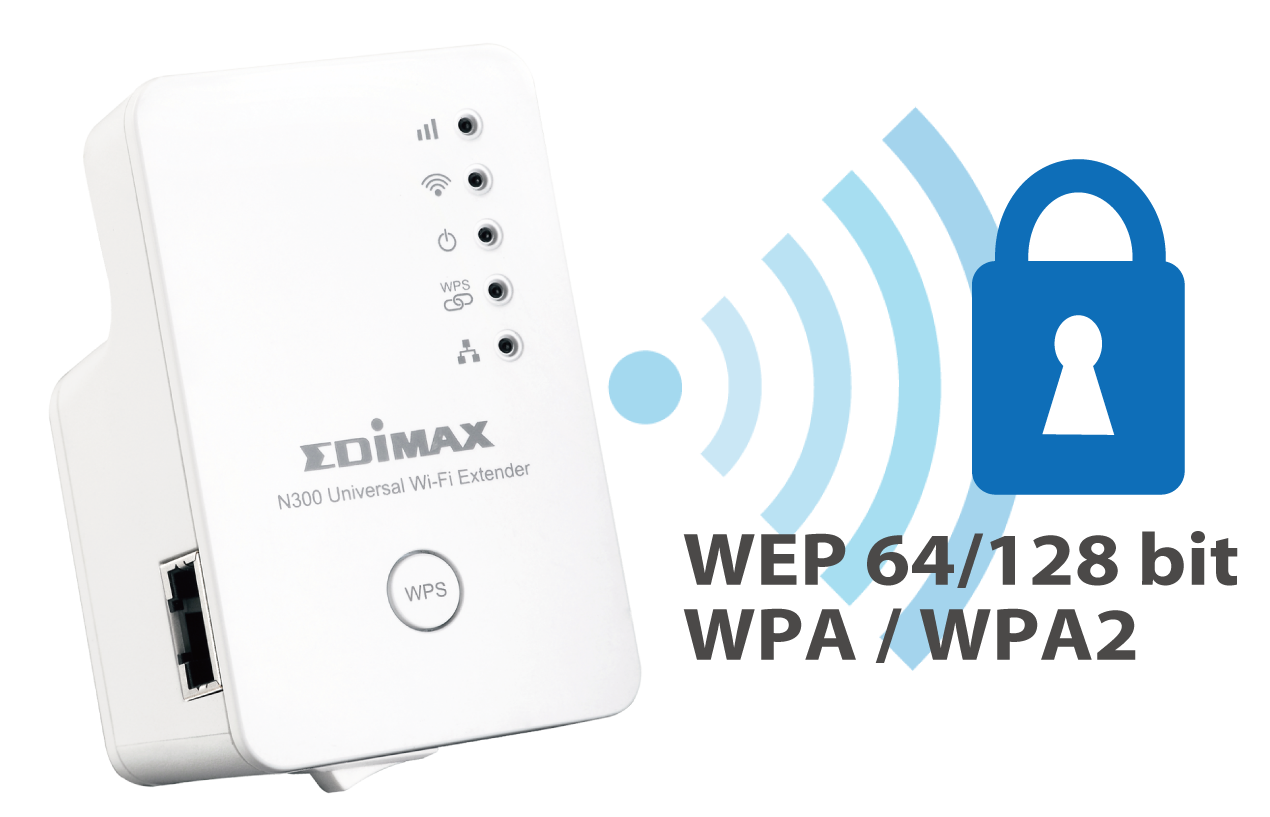 Edimax EW-7438RPn N300 Universal Smart Wi-Fi Extender/Access Point EW-7438RPn V2 wireless encryption: WEP 64/128 bit, WPA, WPA2