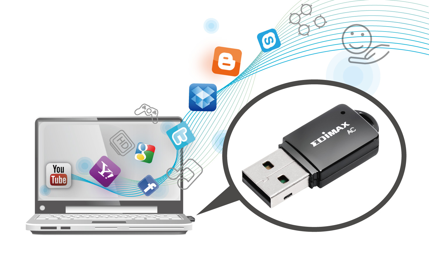 Edimax EW-7811UTC AC600 Wireless Dual-Band Mini USB Adapter Mini-Size