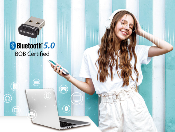 Edimax BT-8500 Bluetooth 5.0 Nano USB Adapter, BQB Certified