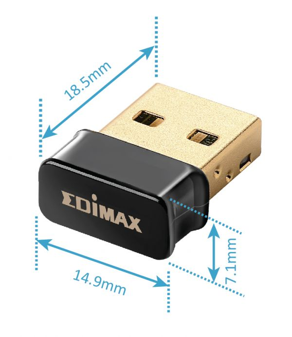 Edimax EW-7711ULC AC450 Wi-Fi USB Adapter-11ac Upgrade for Laptops. Nano Mini Size