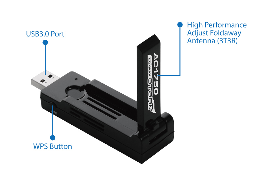 Edimax EW-7833UAC AC1750 Dual-Band Wi-Fi USB 3.0 Adapter with 180-degree Adjustable Antenna