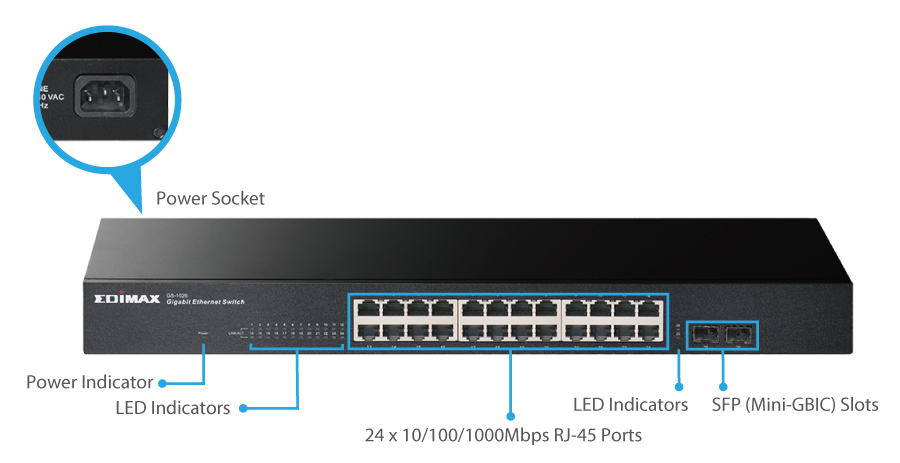 GS-1026 V2 24-Port Gigabit with 2 SFP Slot Rack-Mount Switch