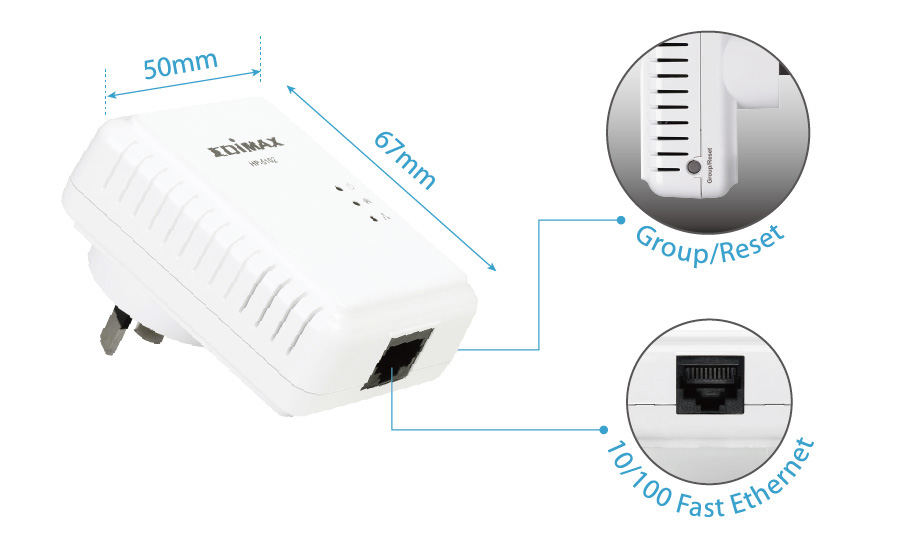 Edimax HP-5102 500Mbps Nano PowerLine Adapter with Compact Size and Group Setting Button