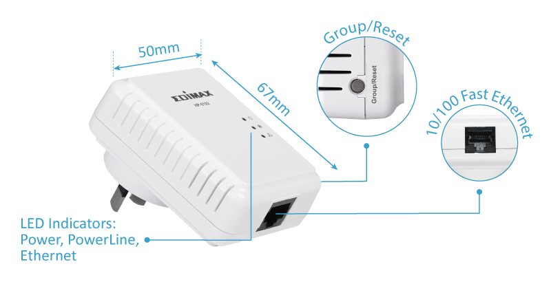 Edimax HP-5102AC 500Mbps Nano PowerLine Adapter with Group Setting Button