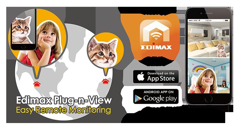 EDIMAX - Network Cameras - Indoor Fixed - 720p Wireless H 264 Day