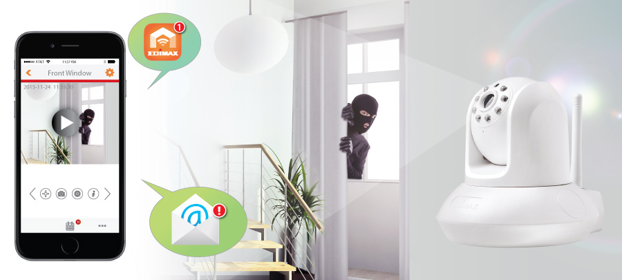 Edimax IC-7112W Smart HD Wi-Fi Pan/Tilt Network Camera Day & Night, push notification with video alert