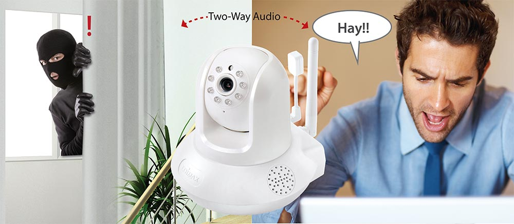 IC-7113W Smart HD Wi-Fi Pan/Tilt Network Camera with Temperature & Humidity Sensor, Day & Night, Free App, 2-way audio