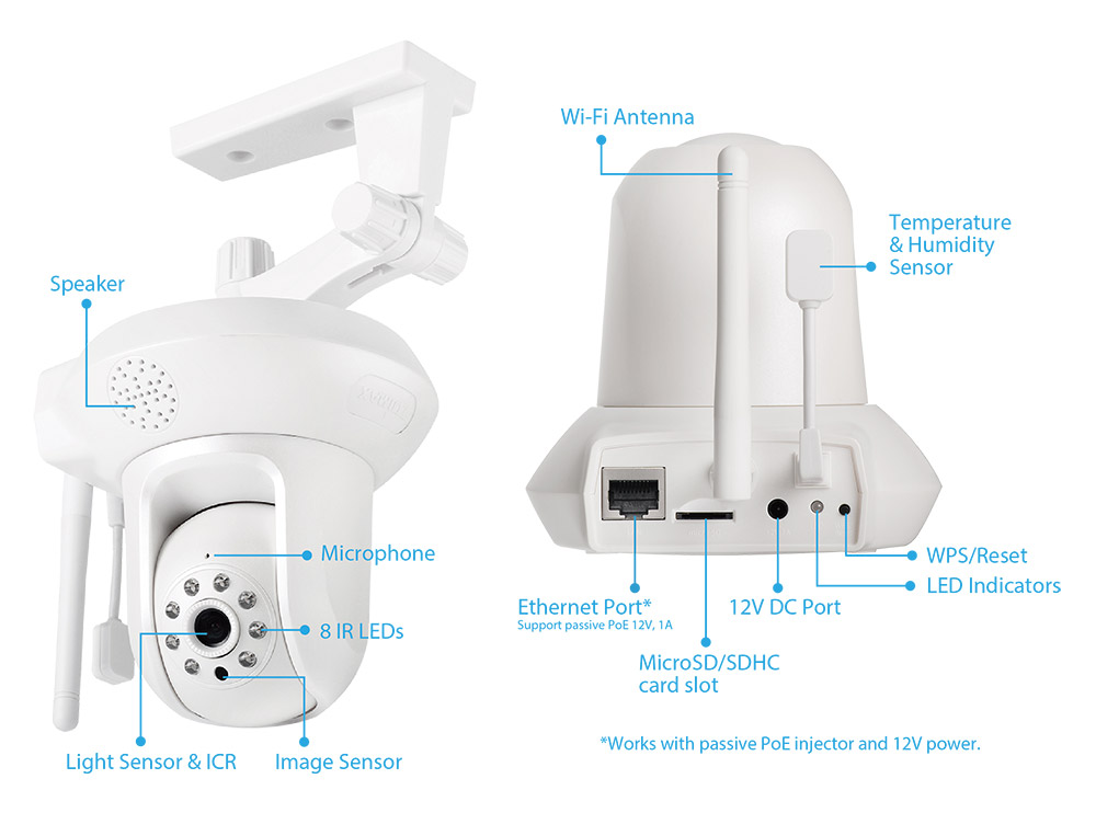 IC-7113W Smart HD Wi-Fi Pan/Tilt Network Camera with Temperature & Humidity Sensor, Day & Night, Free App Plug-n-View, 24/7 Remote Monitoring