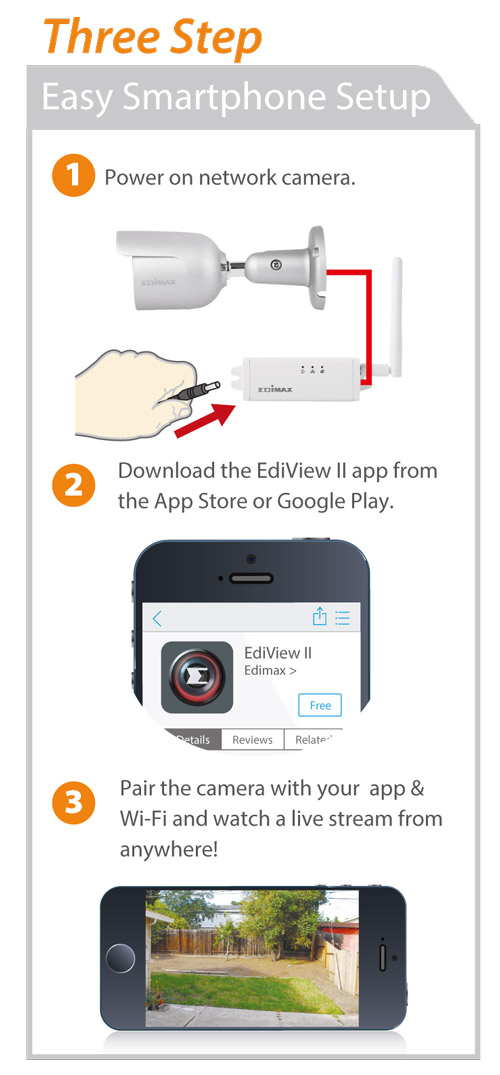 Edimax IC-9110W HD Wi-Fi Mini Outdoor Network Camera, Day & Night, EdiView II, easy 3-step smartphone setup
