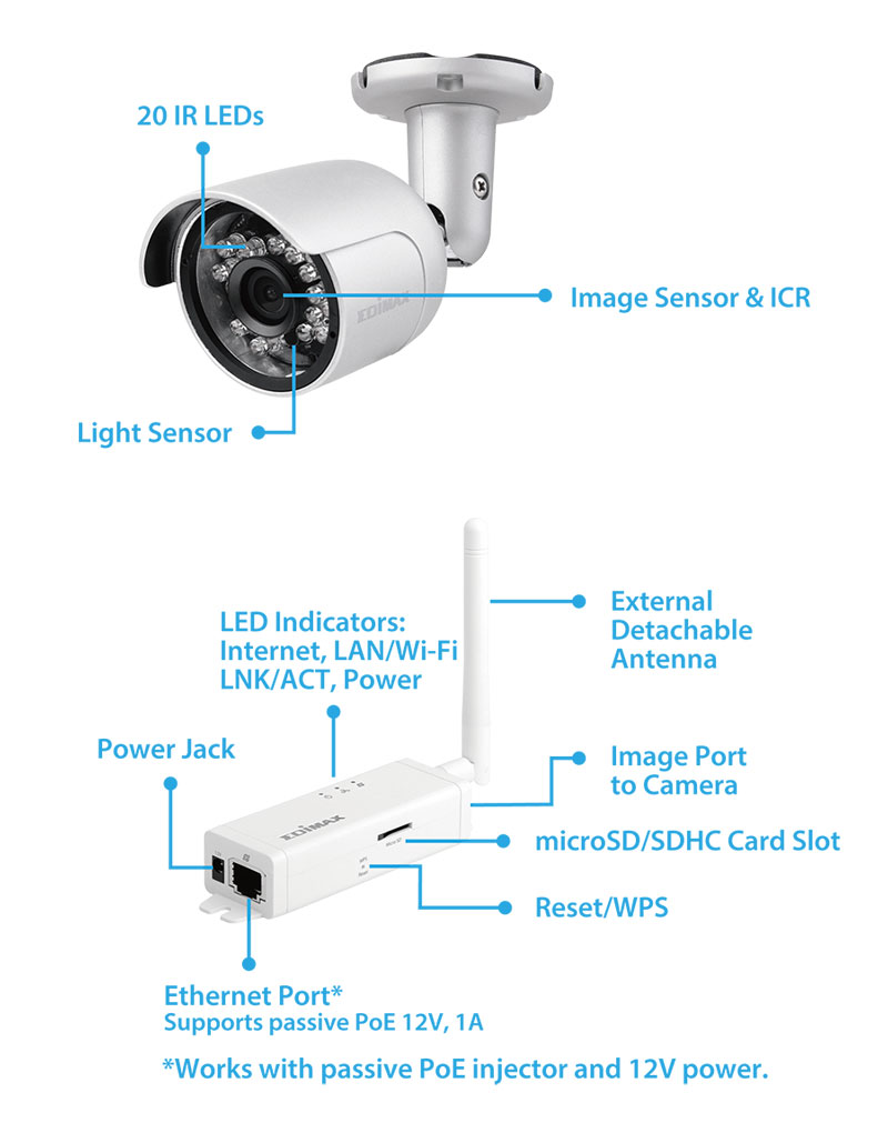 IC-9110W Smart HD Wi-Fi Mini Outdoor Network Camera, Day & Night, Free App Plug-n-View, 24/7 Remote Monitoring