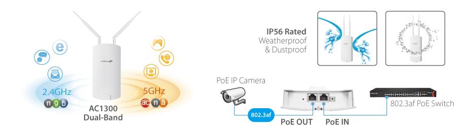 Edimax Pro OAP1300 2 x 2 AC1300 Dual-Band Outdoor PoE Access Point long range solution