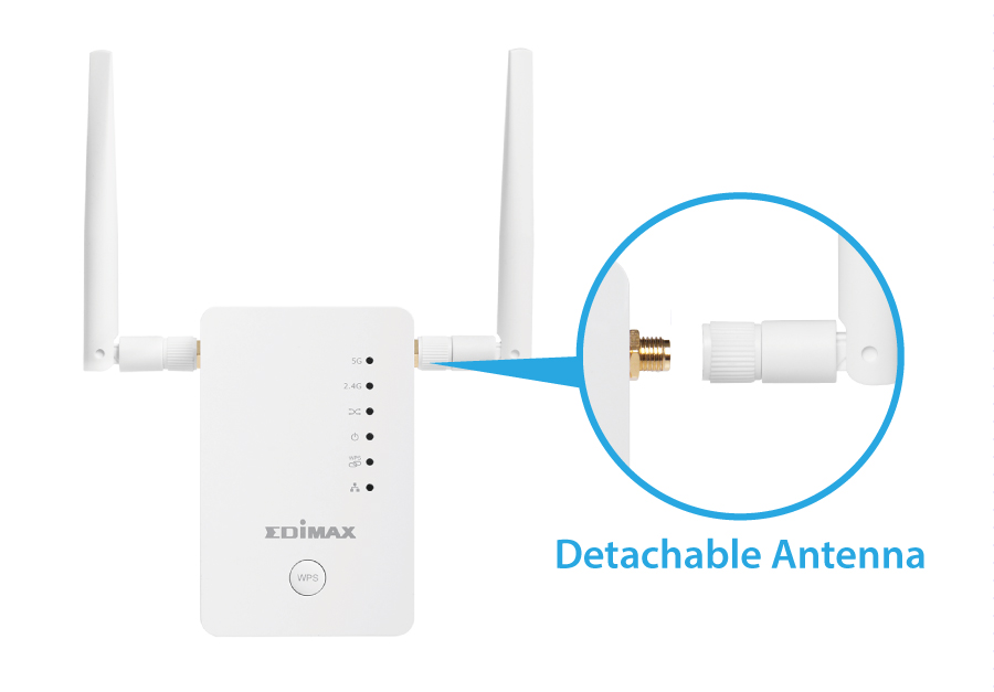 Edimax Gemini RE11 AC1200 Dual-Band Home Wi-Fi Roaming Kit, Wi-Fi Extender/Access Point/Wi-Fi Bridge, detachable antenna