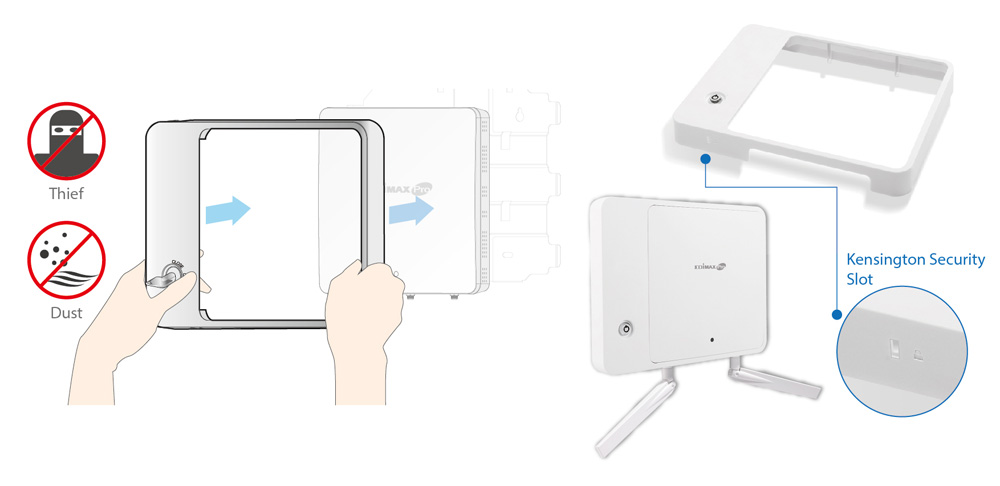 Edimax Edimax WAP1200 2 x 2 AC Dual-Band Wall-Mount PoE Access Point, security cover